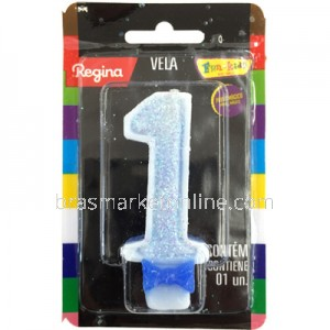 Vela Glitter Regina Nº1 Azul