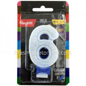Vela Glitter Regina Nº6 Azul