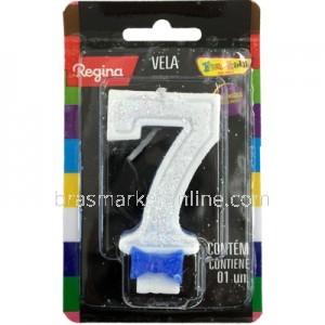 Vela Glitter Regina Nº7 Azul