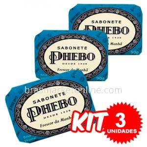 (((Kit c/ 3 uni))) Phebo Sabonete em Barra Frescor da Manhã - 90g