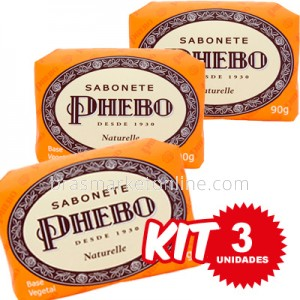 (((Kit c/ 3 uni))) Phebo Sabonete em Barra Naturelle - 90g